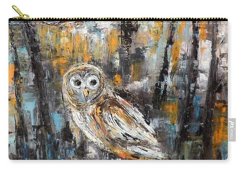 Owl Carry-all Pouch featuring the painting Nightlife by Maria Karalyos