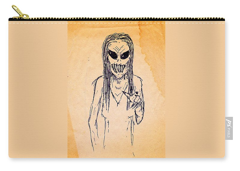 Teeth Hag Zombie Dead Monster Nightmare Carry-all Pouch featuring the drawing Nightmare Sketch by Guy Pettingell