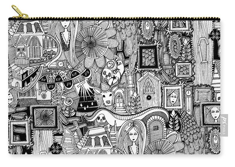 Ghost Carry-all Pouch featuring the drawing Nightmares by MGL Meiklejohn Graphics Licensing