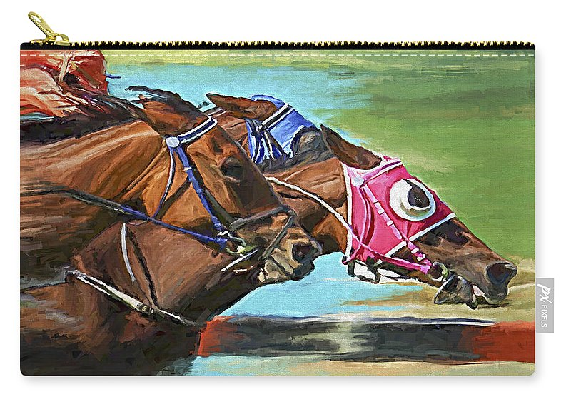 Horses Carry-all Pouch featuring the painting Nikita By A Head by David Wagner