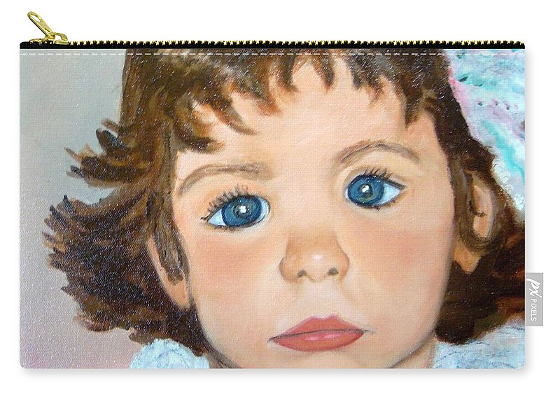 Portrait Carry-all Pouch featuring the painting Nikki by Laurie Morgan