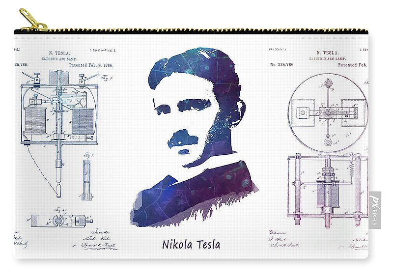 Electric Arc Lamp Carry-all Pouch featuring the digital art Nikola Tesla Patent Art Electric Arc Lamp by Justyna JBJart