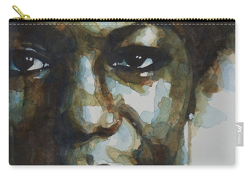 Nina Simone Carry-all Pouch featuring the painting Nina Simone Ain't Got No by Paul Lovering