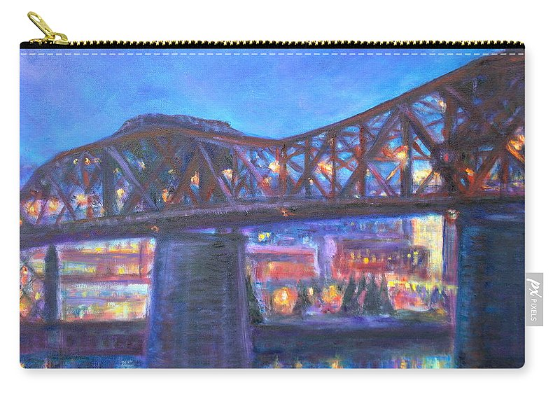 Sky Carry-all Pouch featuring the painting City At Night Downtown Evening Scene Original Contemporary Painting For Sale by Quin Sweetman