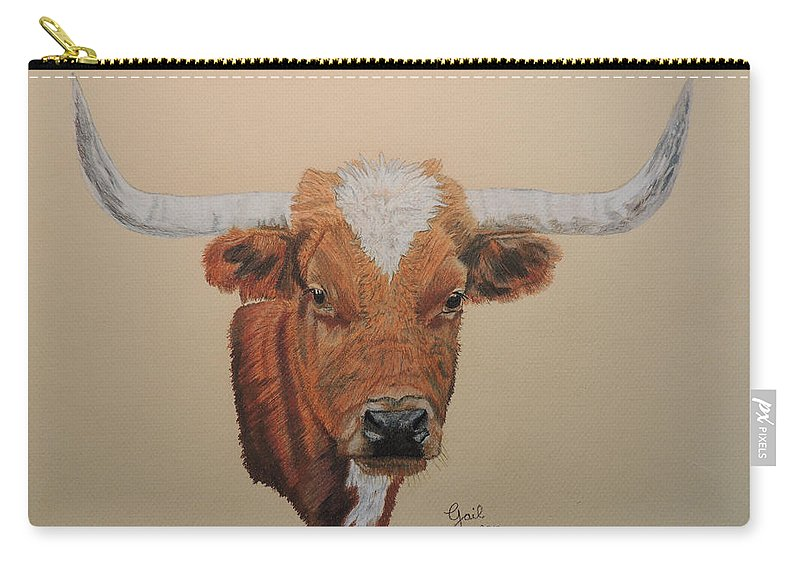 Long Horn Carry-all Pouch featuring the painting No Bull by Gail Seufferlein