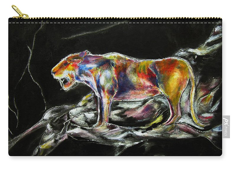 Animals Carry-all Pouch featuring the painting No Fear by Tom Conway