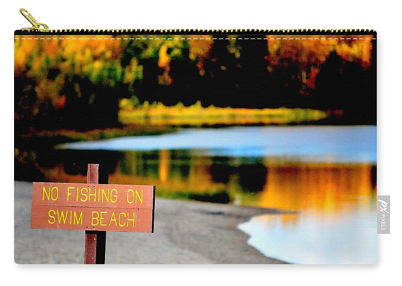 Lake Carry-all Pouch featuring the photograph No Fishing II by Kathy Sampson