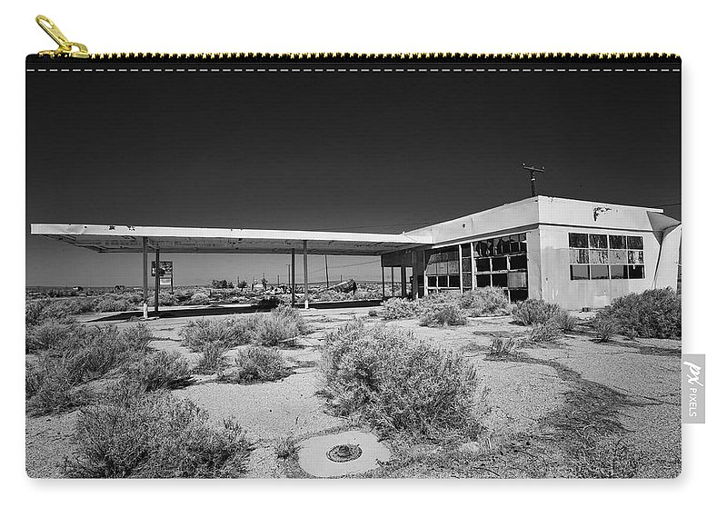 Gas Station Carry-all Pouch featuring the photograph No Gas by Peter Tellone
