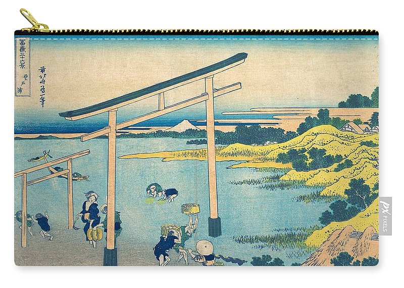 1830-1832 Carry-all Pouch featuring the painting Noboto Bay by Katsushika Hokusai