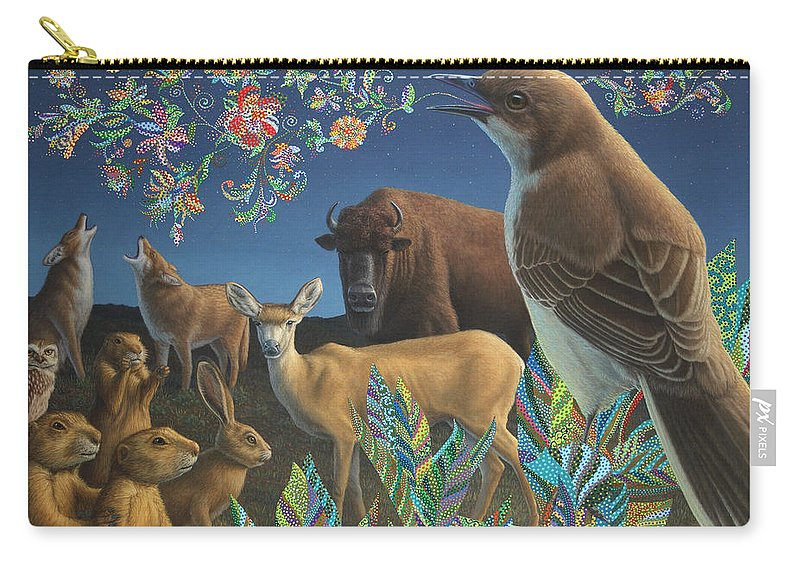 Mockingbird Carry-all Pouch featuring the painting Nocturnal Cantata by James W Johnson