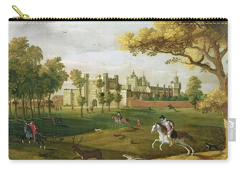 Hound Carry-all Pouch featuring the painting Nonsuch Palace In The Time Of King by Flemish School