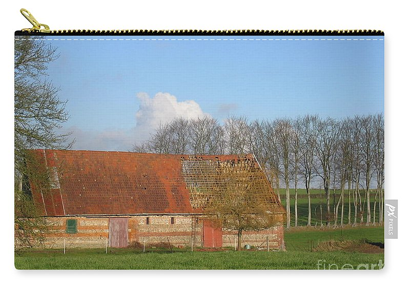 Normandy Storm Damaged Barn Carry-all Pouch featuring the photograph Normandy Storm Damaged Barn by HEVi FineArt