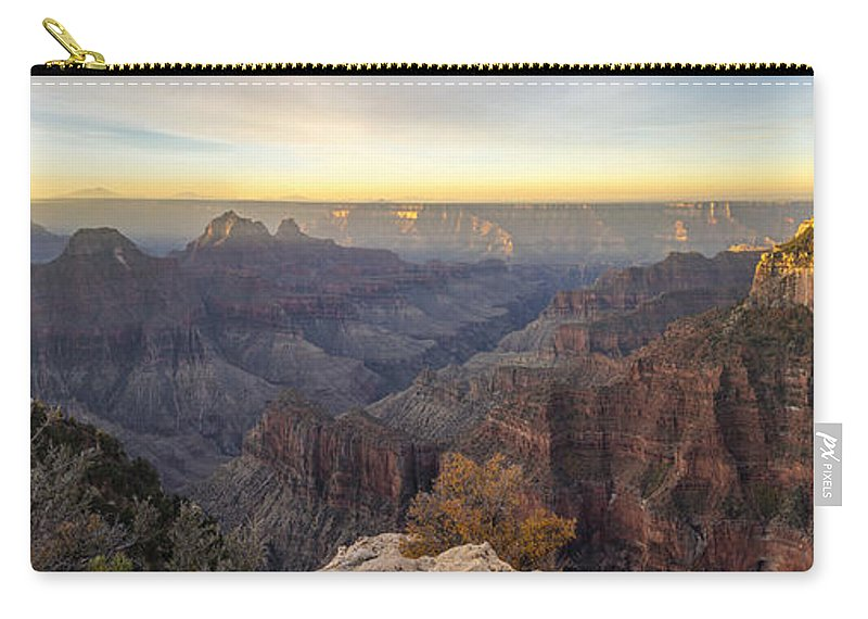 North Rim Sunrise Grand Canyon National Park Arizona Az Carry-all Pouch featuring the photograph North Rim Sunrise Panorama 2 - Grand Canyon National Park - Arizona by Brian Harig