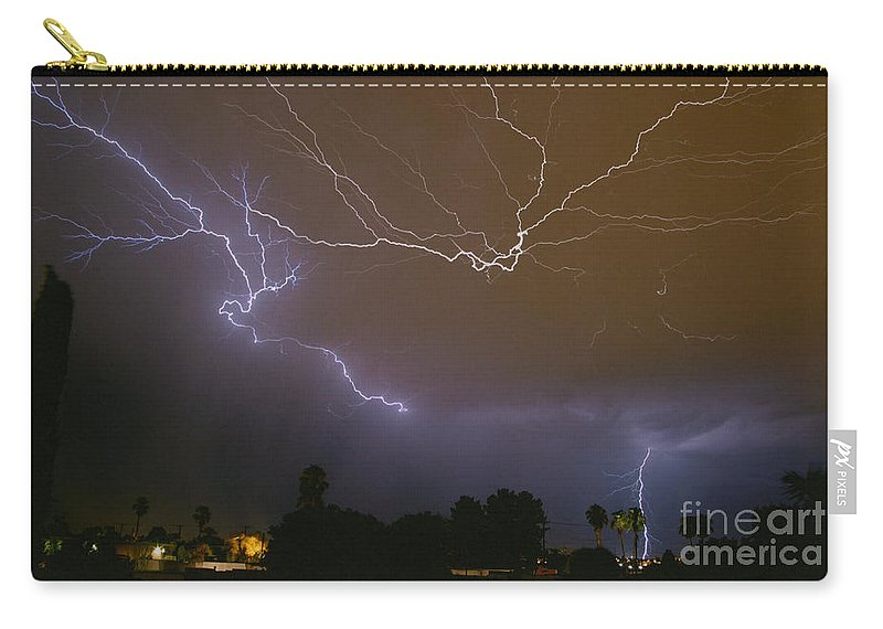 Lightning Carry-all Pouch featuring the photograph Northwest Tucson by J L Woody Wooden