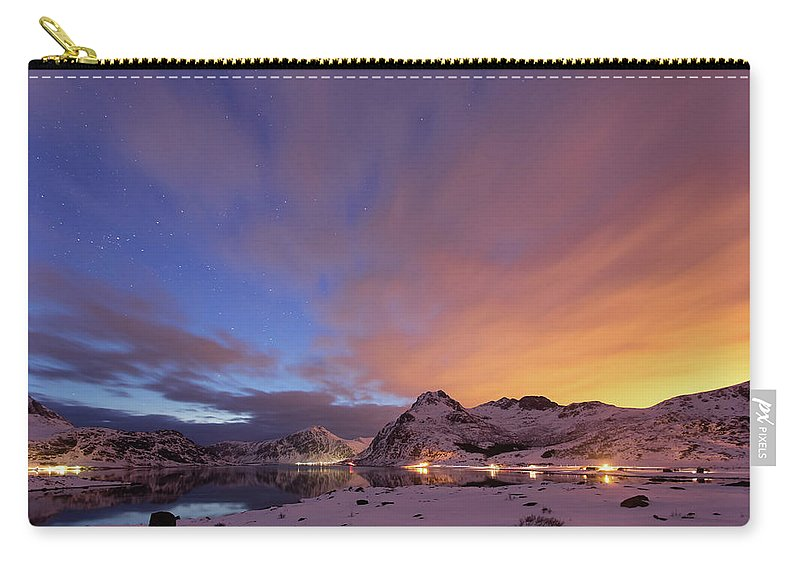 Scenics Carry-all Pouch featuring the photograph Norway Lofoten At Night With Burning Sky by Spreephoto.de