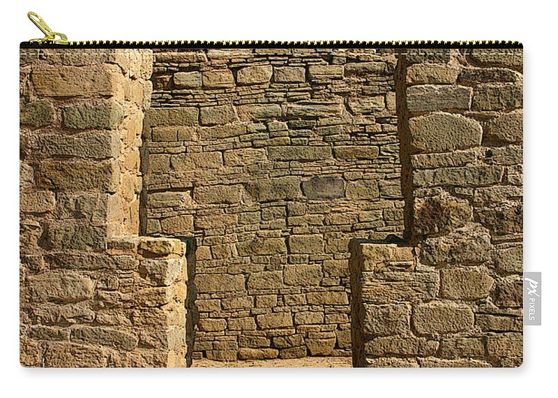 Aztec Ruins Carry-all Pouch featuring the photograph Notched Doorway by Joe Kozlowski
