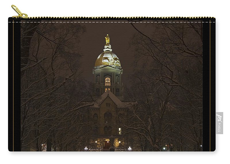 Notre Dame Carry-all Pouch featuring the photograph Notre Dame Golden Dome Snow Poster by John Stephens