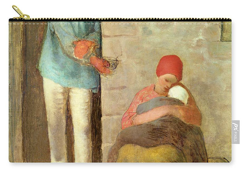 Poverty Carry-all Pouch featuring the painting Nourishment, 1858 by Jean-Francois Millet