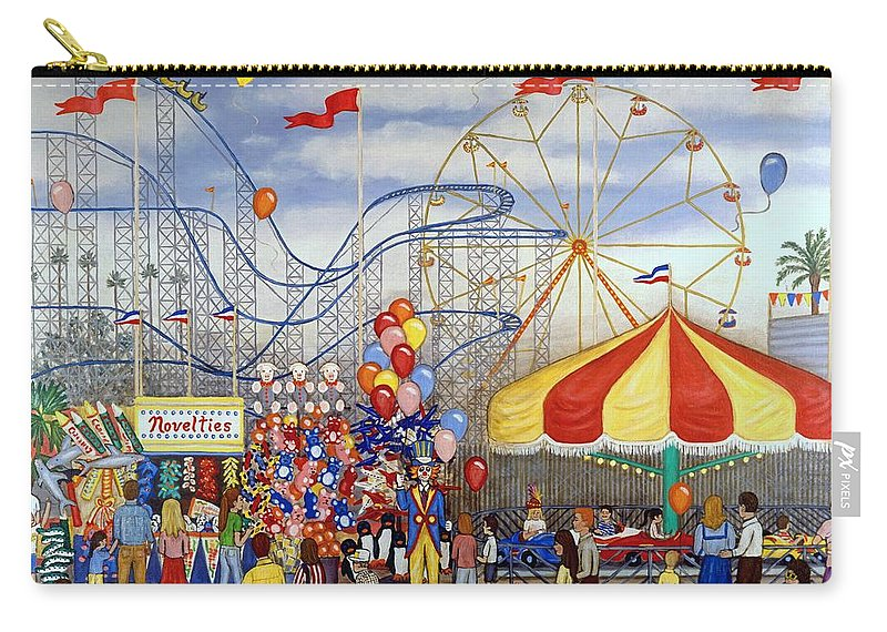 Carnival Carry-all Pouch featuring the painting Novelties At The Carnival by Linda Mears
