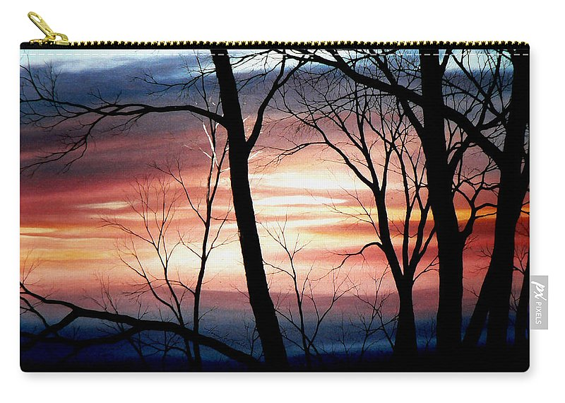 Fall Landscape Painting Carry-all Pouch featuring the painting November Lace by Hanne Lore Koehler