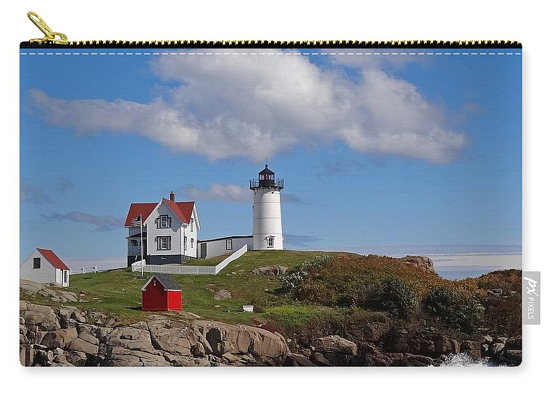 Tranquility Carry-all Pouch featuring the photograph Nubble Lighthouse by Photo Jacques Trempe