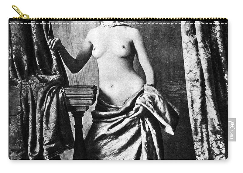 1850 Carry-all Pouch featuring the photograph Nude And Curtains, C1850 by Granger