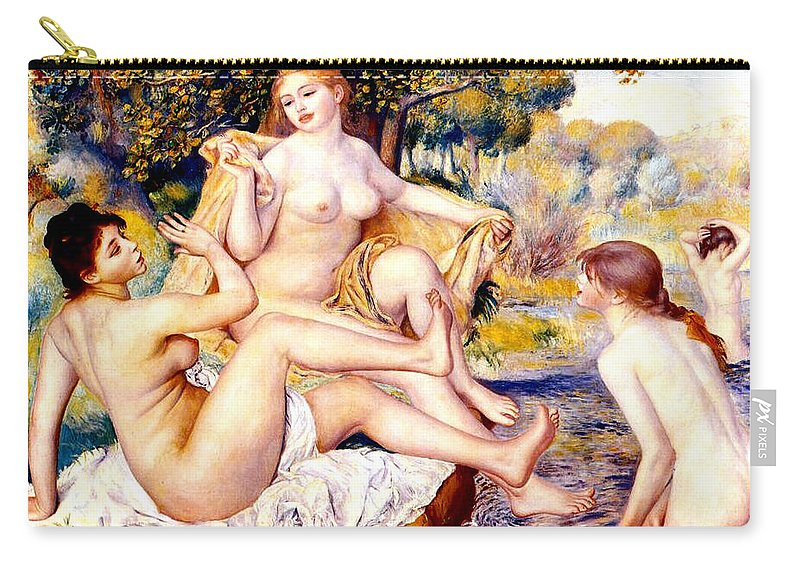 Renoir Carry-all Pouch featuring the digital art Nude Bathers by Pierre-Auguste Renoir