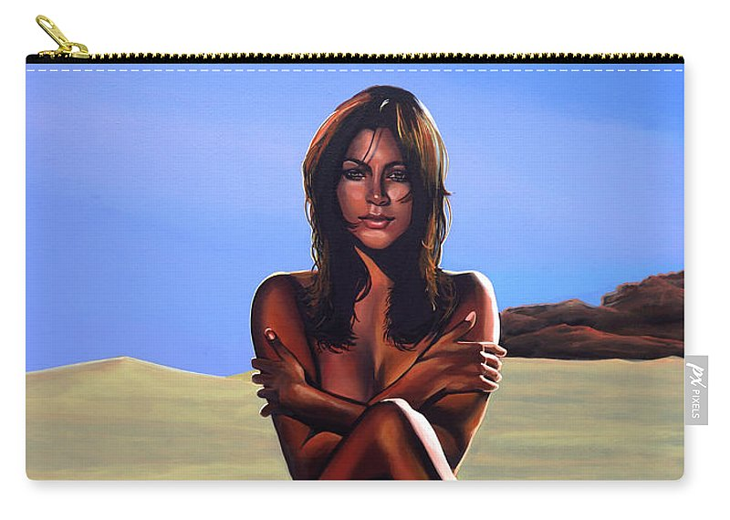 Nude Carry-all Pouch featuring the painting Nude Beach Beauty by Paul Meijering