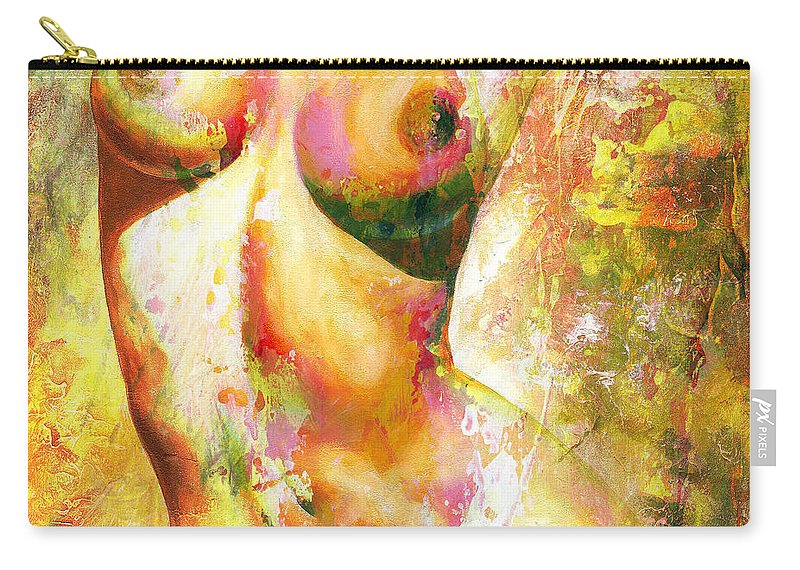 Nude Carry-all Pouch featuring the painting Nude Details - Digital Vibrant Color Version by Emerico Imre Toth