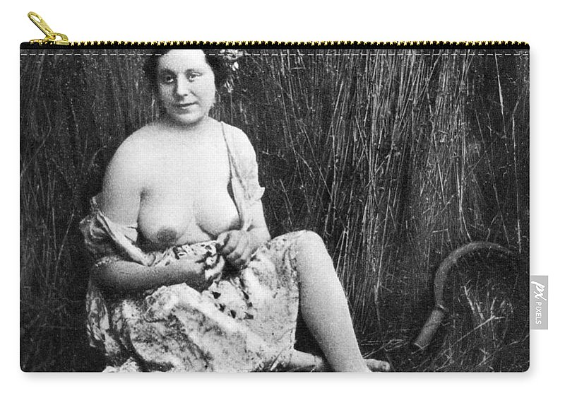 1850 Carry-all Pouch featuring the photograph Nude In Field, C1850 by Granger