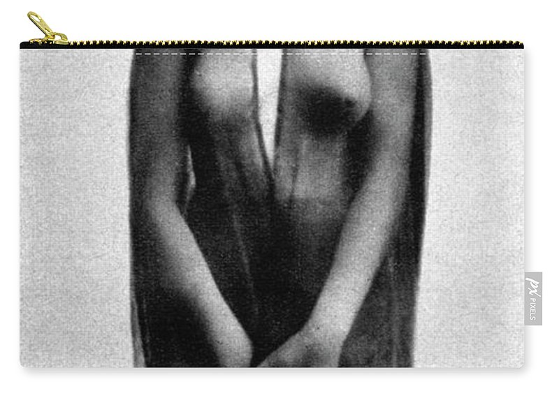1914 Carry-all Pouch featuring the photograph Nude In Sheer Clothing by Granger