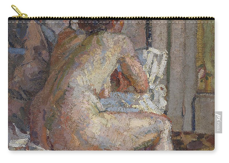 Camden Town Group Carry-all Pouch featuring the painting Nude On A Bed, C.1914 by Harold Gilman