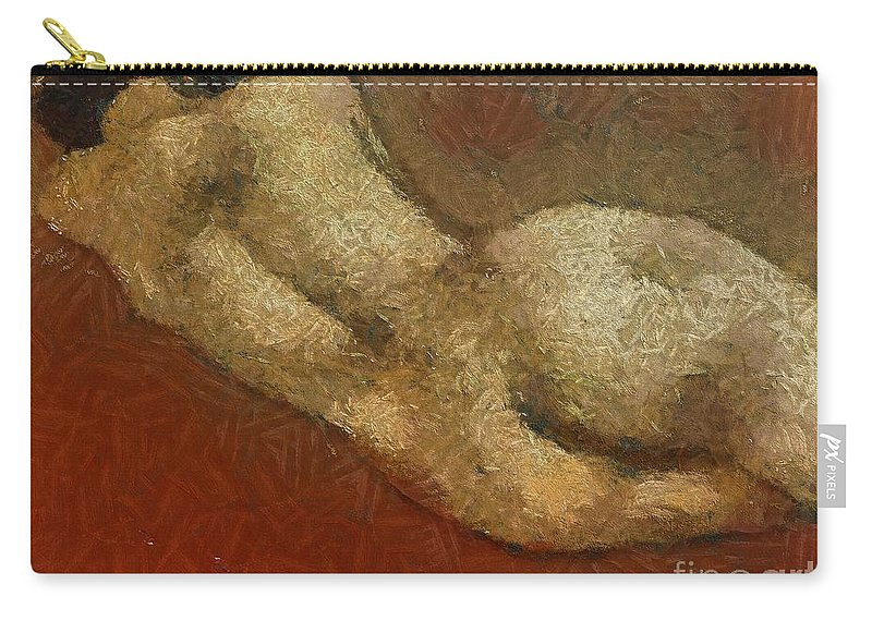 Nude Carry-all Pouch featuring the painting Nude On A Red by Dragica Micki Fortuna