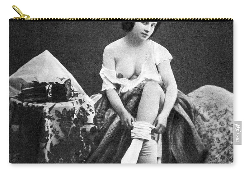 1850 Carry-all Pouch featuring the photograph Nude Undressing, C1850 by Granger