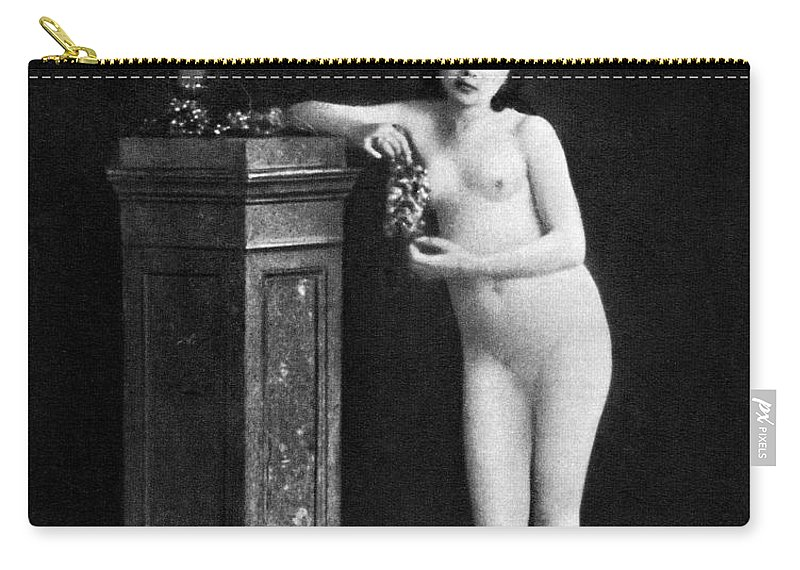 1850 Carry-all Pouch featuring the photograph Nude With Grapes, C1850 by Granger