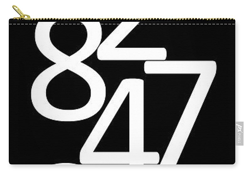 Numbers Carry-all Pouch featuring the digital art Numbers In Black And White by Jackie Farnsworth