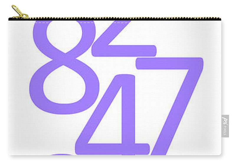Numbers Carry-all Pouch featuring the digital art Numbers In Purple by Jackie Farnsworth