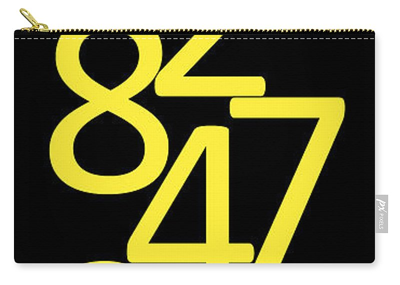 Numbers Carry-all Pouch featuring the digital art Numbers In Yellow And Black by Jackie Farnsworth