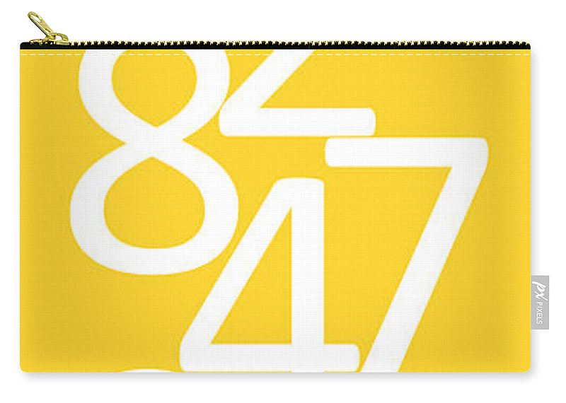 Numbers Carry-all Pouch featuring the digital art Numbers In Yellow And White by Jackie Farnsworth
