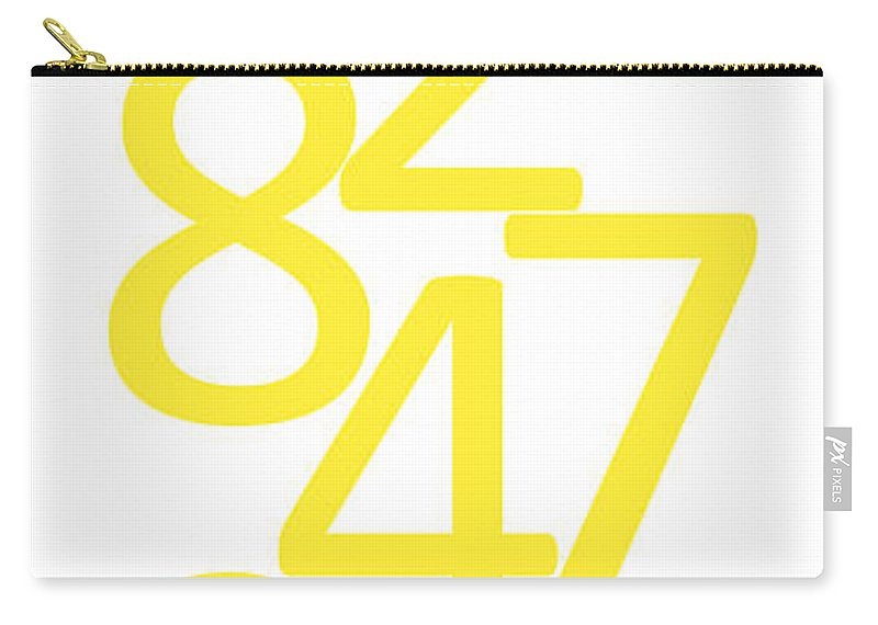 Numbers Carry-all Pouch featuring the digital art Numbers In Yellow by Jackie Farnsworth