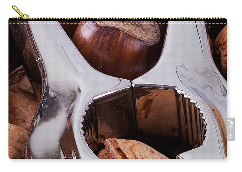 Nuts Carry-all Pouch featuring the photograph Nutcracker With Nuts Closeup by Simon Bratt Photography LRPS