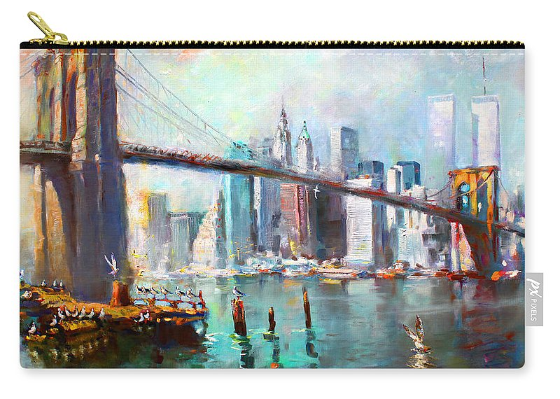 Nyc Carry-all Pouch featuring the painting Ny City Brooklyn Bridge II by Ylli Haruni