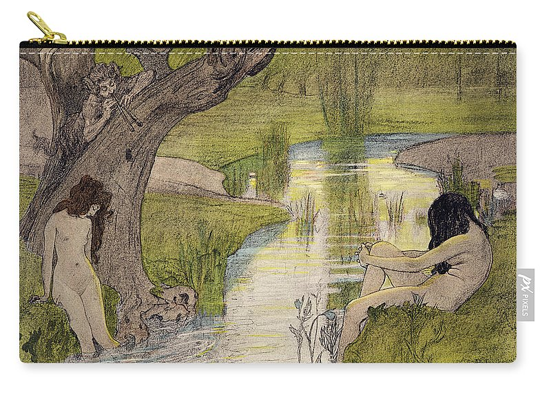 Nymphs Bathing Carry-all Pouch featuring the drawing Nymphs Bathing by French School