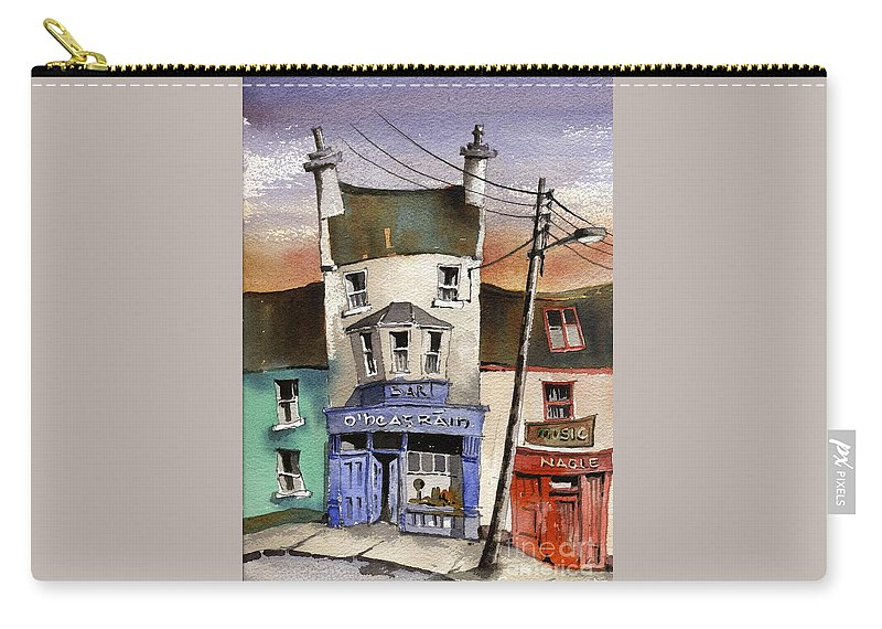 Val Byrne Carry-all Pouch featuring the painting O Heagrain Pub, Viewed 21,339 Times by Val Byrne