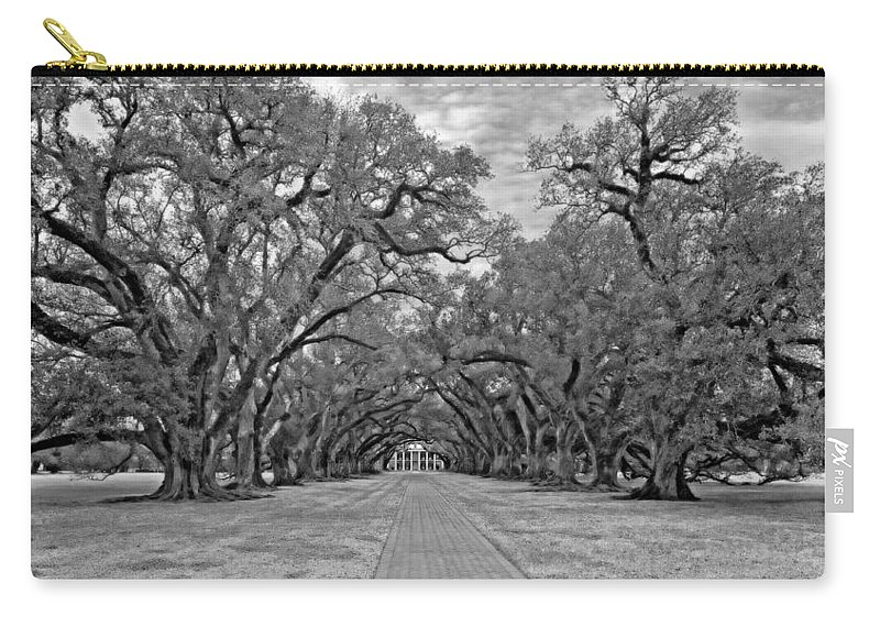 Oak Alley Plantation Carry-all Pouch featuring the photograph Oak Alley 3 Monochrome by Steve Harrington
