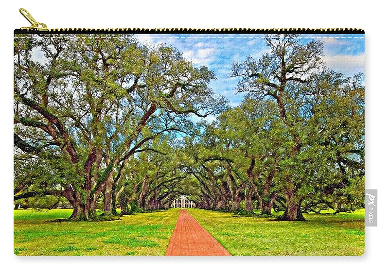 Oak Alley Plantation Carry-all Pouch featuring the photograph Oak Alley 3 Oil by Steve Harrington