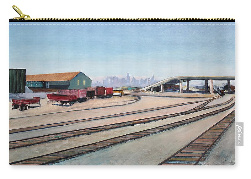 Urban Painting Carry-all Pouch featuring the painting Oakland Train Tracks And San Francisco Skyline by Asha Carolyn Young