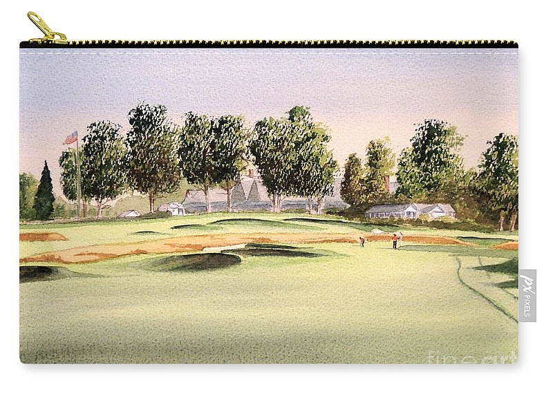 Oakmont Golf Course Carry-all Pouch featuring the painting Oakmont Golf Course 14th by Bill Holkham