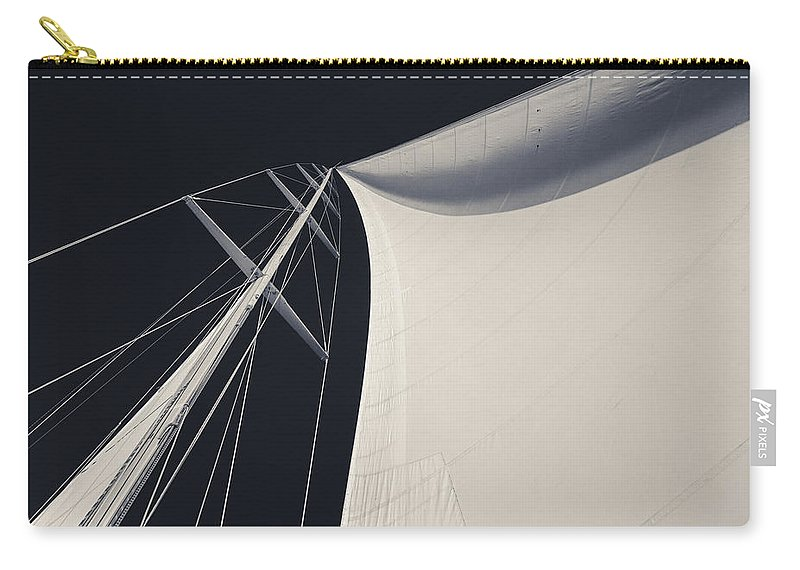 Sails Carry-all Pouch featuring the photograph Obsession Sails 3 Black And White by Scott Campbell