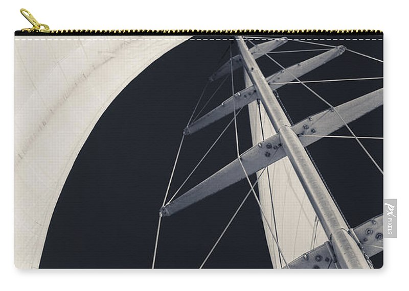Sails Carry-all Pouch featuring the photograph Obsession Sails 5 Black And White by Scott Campbell